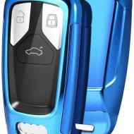 Husa Cheie Audi SmartKey TPU+PC Albastra