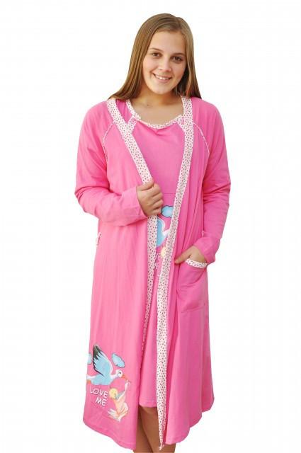 """Poze Set cămaşă de noapte pentru alăptat cu halat """"cu barză"""" roz"""