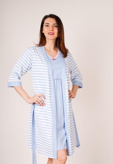 Poze Set cămaşă de noapte pentru alăptat cu fanta STRIPES albastru