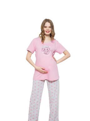 """Poze Pijama pentru alăptat cu """"elefant"""" roz"""