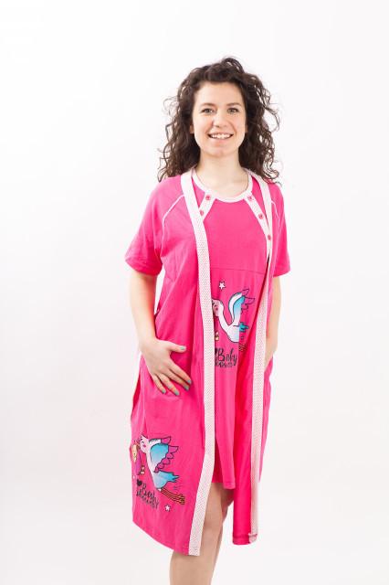 """Poze Set cămaşă de noapte pentru alăptat cu halat """"cu barza"""" ciclam"""