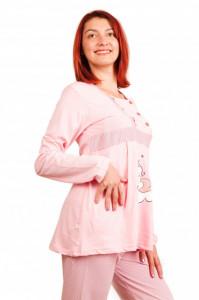 Pijama pentru alăptat bumbac bebe nor roz/portocaliu