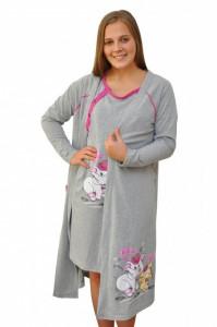 """Set cămaşă de noapte pentru alăptat cu halat """"cu lună"""" gri"""