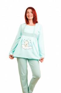 Pijama pentru alăptat bumbac bebe nor turcoaz