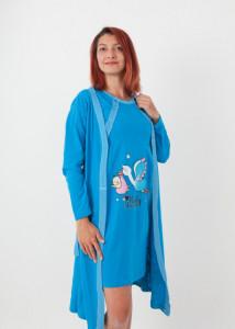 """Set cămaşă de noapte pentru alăptat cu halat """"cu barză"""" diverse culori"""