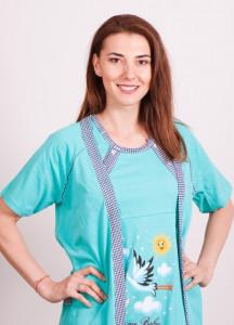 Set cămaşă de noapte pentru alăptat turcoaz/verde