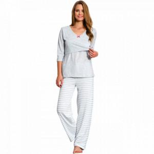 Pijama pentru alăptat cu fanta gri