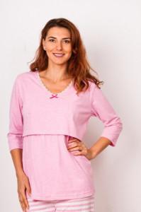 Pijama pentru alăptat cu fanta roz