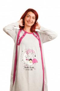 """Set cămaşă de noapte pentru alăptat cu halat """"cu bebe lună"""" gri/ciclam/corai"""