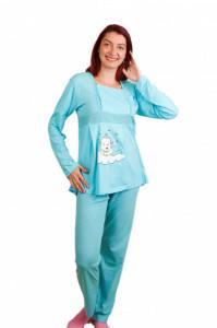 Pijama pentru alăptat bumbac bebe nor albastră