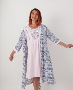 """Set cămaşă de noapte pentru alăptat cu halat """"Nicoletta"""""""
