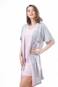 """Set cămaşă roz de noapte pentru alăptat cu halat """"cu barză"""""""