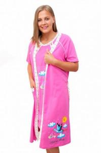 """Set cămaşă de noapte pentru alăptat cu halat """"cu barza"""" roz"""