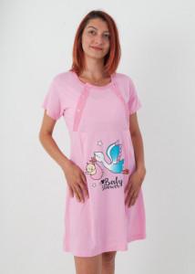 """Set cămaşă de noapte pentru alăptat cu halat """"cu barză"""" roz"""
