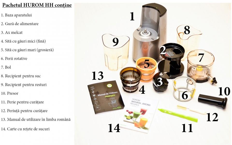 Storcator Hurom Slow Juicer HH-EBE06 prin presare la rece,10Ani Garantie, Produs Original