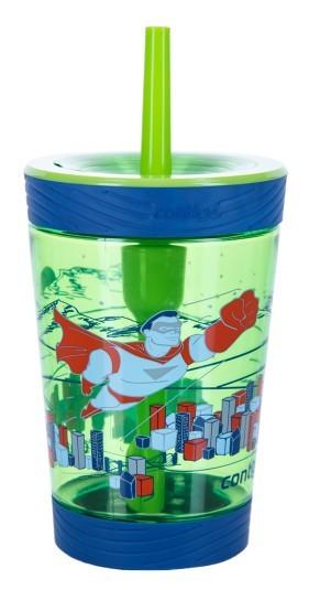 Poze Pahar cu sistem autoblocare si pai pentru baieti Contigo Spill Proof Tumbler, 420ml - Granny Smith Hero-FREE BPA