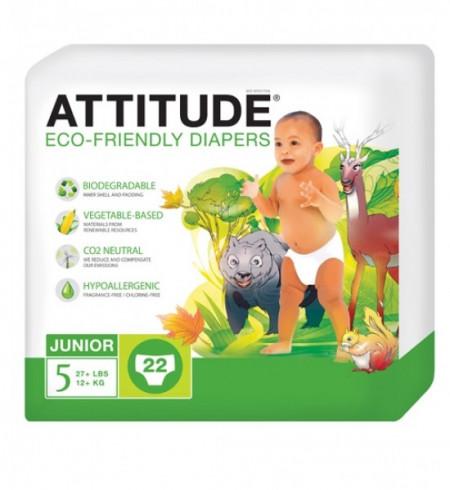 Poze Scutece ecologice de unica folosinta marime 5 (12kg) ATTITUDE Eco-friendly 22 buc.