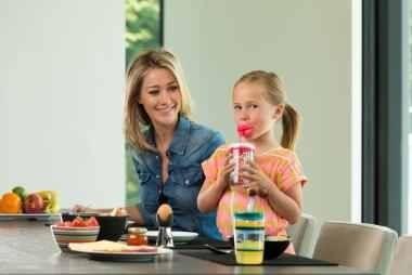 Poze Pahar cu pai haios pentru fetite Contigo Funny Straw, 470 ml - Cherry blossom Lips-FREE  BPA
