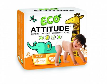 Poze Scutece ecologice de unica folosinta marime 4 (9-14kg) ATTITUDE Eco-friendly 26 buc.
