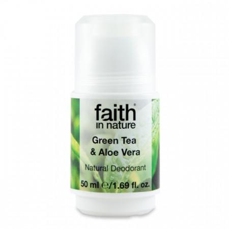 Poze Deodorant roll on natural, Faith in Nature, cu ceai verde si aloe vera, 50 ml