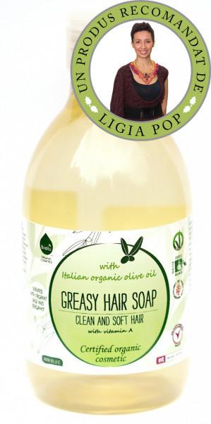 Poze Sampon ecologic cu ulei de masline si vitamina A pentru par gras 300ml