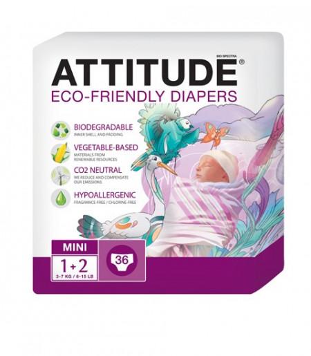 Poze Scutece ecologice de unica folosinta marime 1-2 (3-7kg) ATTITUDE Eco-friendly 36 buc.