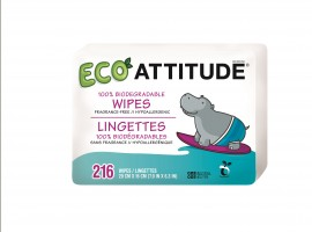 Poze Servetele bio umede pentru bebelusi 100 % biodegradabile rezerve Attitude 216 buc
