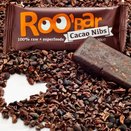 Poze Baton raw bio cu miez de cacao si migdale Roo'Bar 30g
