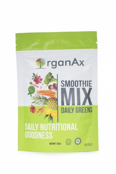 Poze Smoothie Mix, Daily Greens, iarba de grau, acai si goji, OrganAx, 120 g