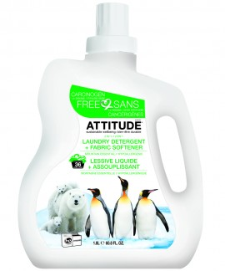 Poze 2 in 1 Detergent si balsam bio de rufe dublu concentrat cu esenta montana ATTITUDE 1.05L, 40 spalari