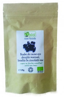 Poze Boabe de cacao decojite manual, invelite in ciocolata raw bio 125g