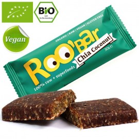 Poze Baton proteic raw bio cu seminte de chia si cocos Roo'Bar 30g