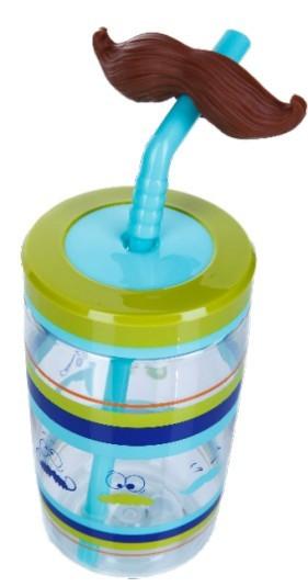 Poze Pahar cu pai haios pentru baieti Contigo Funny Straw, 470 ml - Electric Blue Mustache-FREE BPA