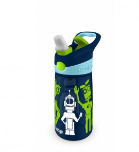 Poze Cana pentru copii cu pai Contigo Striker Autospout Navy Blue Robots 420 ml
