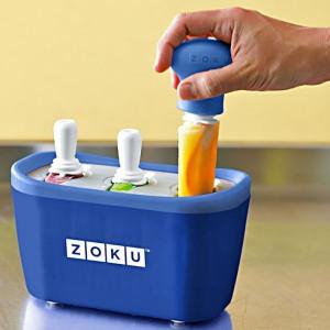 Aparat pentru preparat inghetata instant cu 3 incinte Zoku ZK101-BL Albastru