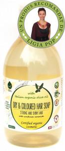 Sampon ecologic cu ulei de masline pentru par uscat/vopsit 300ml