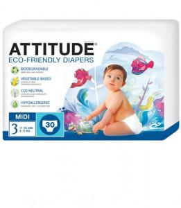 Scutece ecologice de unica folosinta marime 3 (5-11kg) ATTITUDE Eco-friendly 30 buc.
