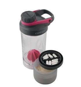 Shaker pentru Bauturi Proteice cu Compartiment SHAKE & GO FIT, Roz, 650 ml, Contigo