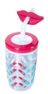 Pahar cu pai haios pentru fetite Contigo Funny Straw, 470 ml - Cherry blossom Lips-FREE  BPA