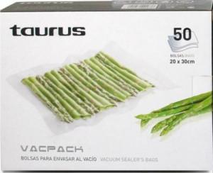 Set de pungi pentru vidat Taurus Vacpak 50 bucati pungi gofrate, 20 x 30cm