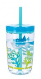 Pahar cu pai plutitor pentru baieti Contigo Floating Straw Tumbler, 470ml - Shark-FREE BPA