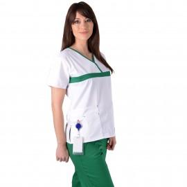 Bluza medicala ColorMIX alb / verde