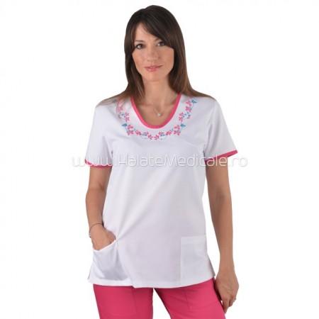Bluza medicala cu broderie ciclam turcoaz