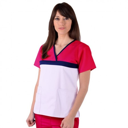 Bluza medicala ColorMIX din bumbac alb/ciclam