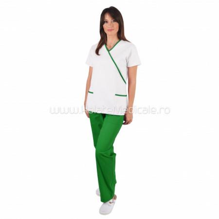 Costum Y alb / verde