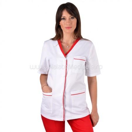 Poze Bluza Dama Alba Cu Insertii Rosii