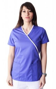 Bluza medicala Y mov cu insertii albe