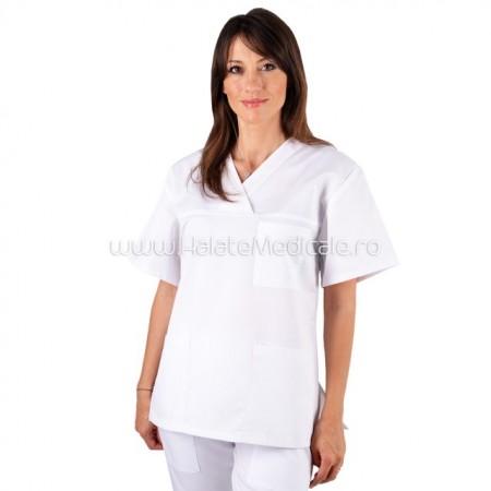 Bluza medicala unisex alba