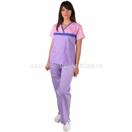Costum medical dama ColorMIX roz/lila