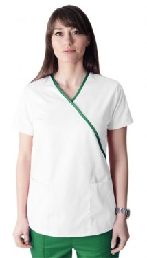 Bluza medicala Y alba cu insertii verzi
